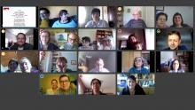 Pantalla de video conferència amb els diversos participants